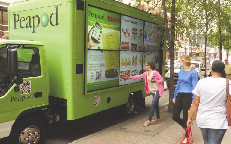 Peapod mobile billboard showing virtual shelf content of their virtual grocery stores