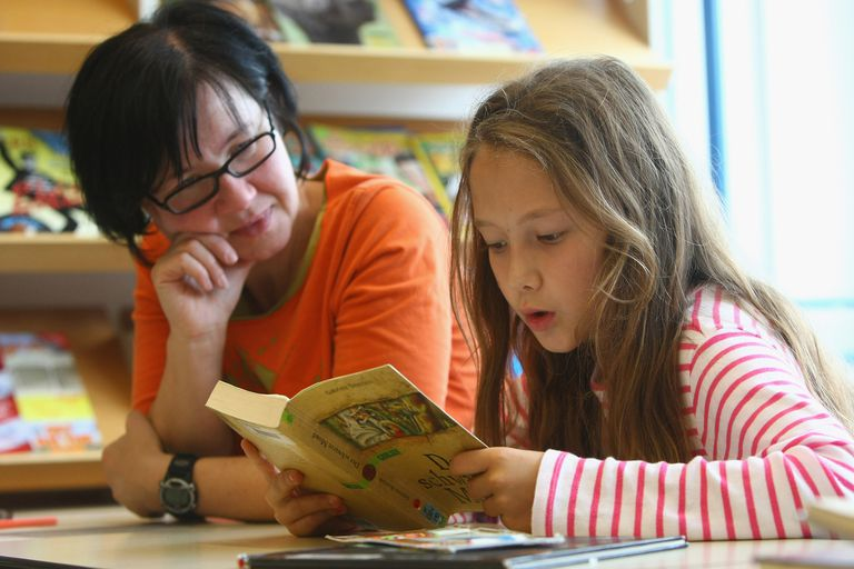 Teacher observing student read