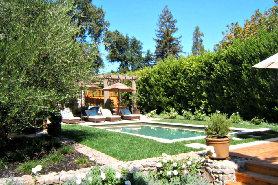 Mediterranean Backyard Designs small backyard designs landscape contemporary with stone tiles contemporary outdoor throw pillows Small Mediterranean Pool In Wine Country