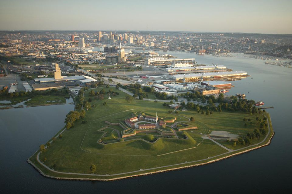 USA, Maryland, Baltimore, Fort McHenry, aerial view