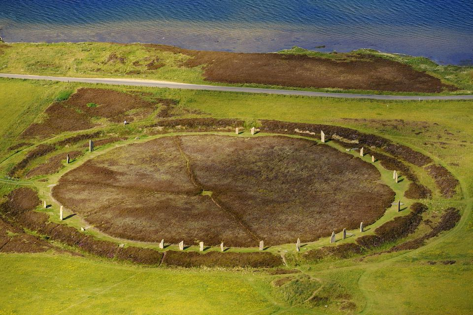 United Kingdom, Scotland, Orkney Islands, Mainland Island, beside the Loch of Stenness, standing stones (stone circle) from the Ring of Brodgar (aerial view)