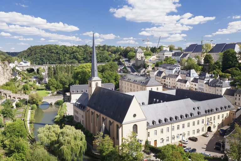 Neumunster Abbey at Lower City Grund, former battlement, old town, UNESCO Wolrd Heritage Site, Luxembourg City, Grand Duchy of Luxembourg, Europe
