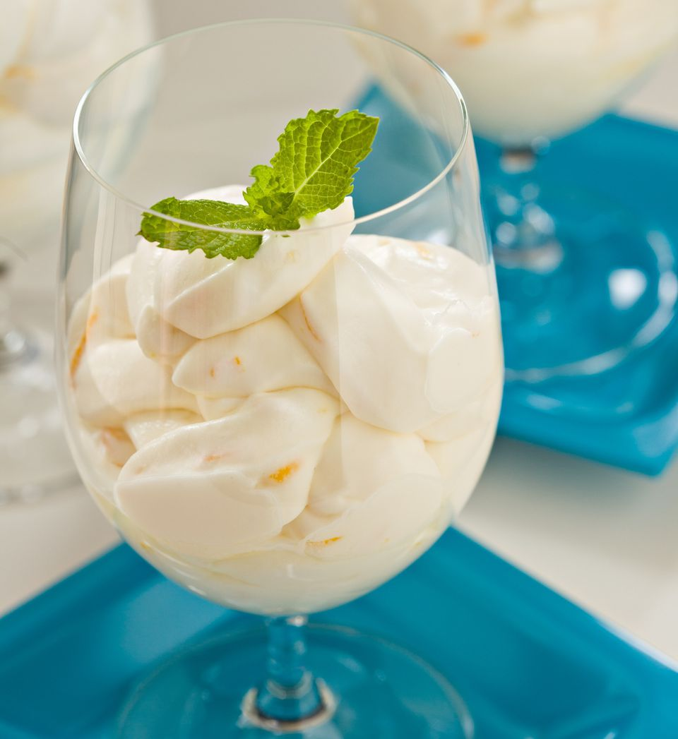 Vegan coconut pudding with fresh mint leaves