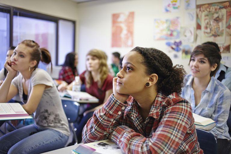 Teenage students in classroom.