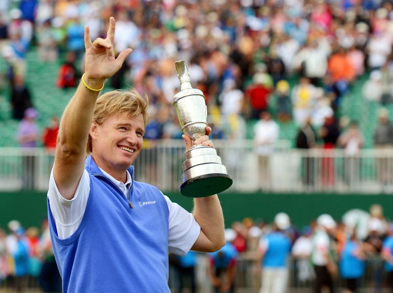 Ernie Els of South Africa poses with the Claret Jug after winning the 141st Open Championship at Royal Lytham & St. Annes Golf Club on July 22, 2012