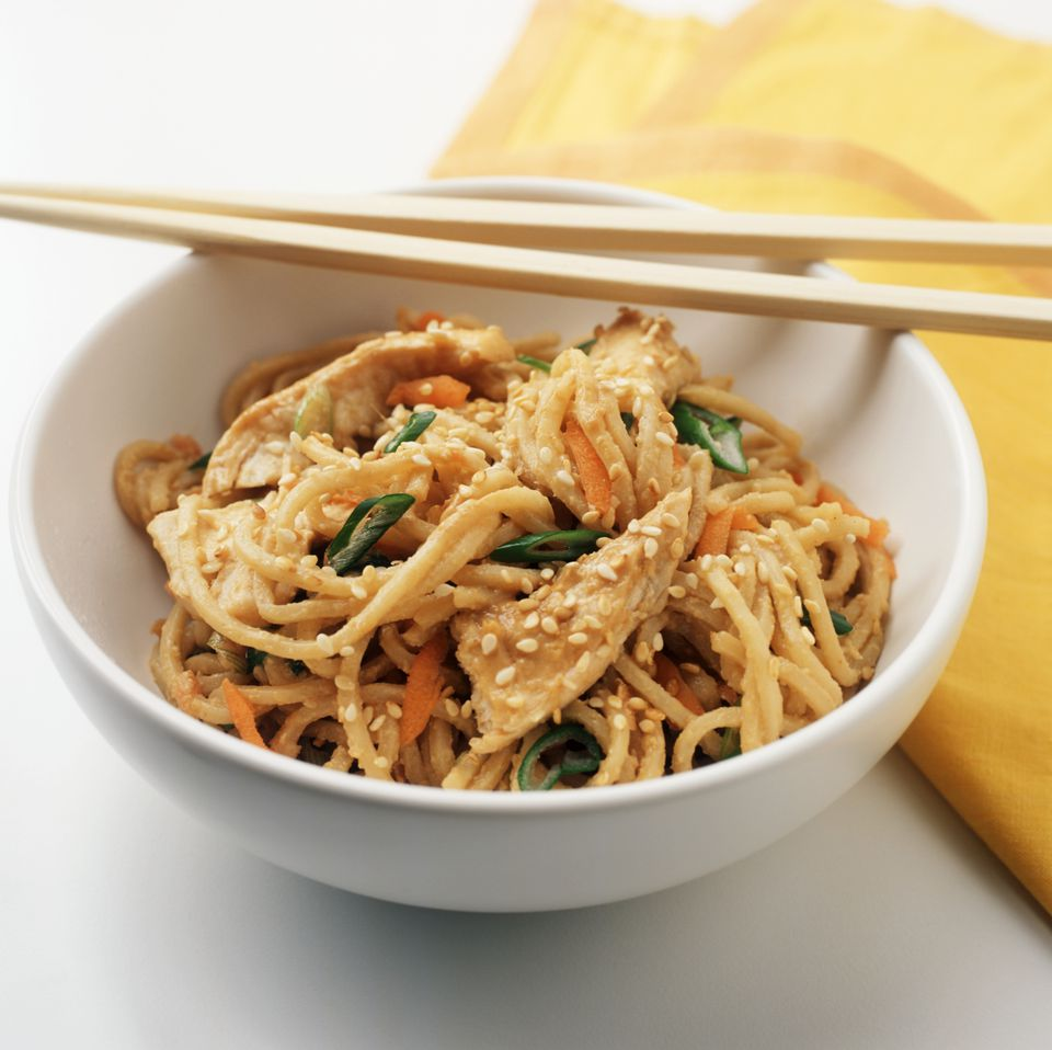 Noodles with Chicken and Vegetables in a Sesame Peanut Sauce