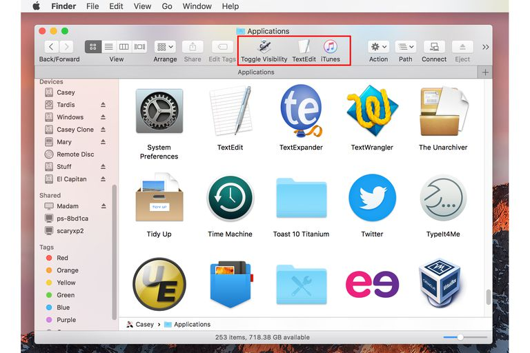 The Finder's toolbar customized with apps
