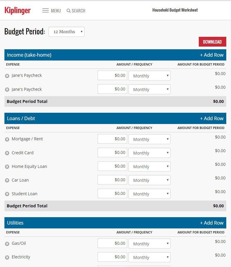 interactive budget worksheet