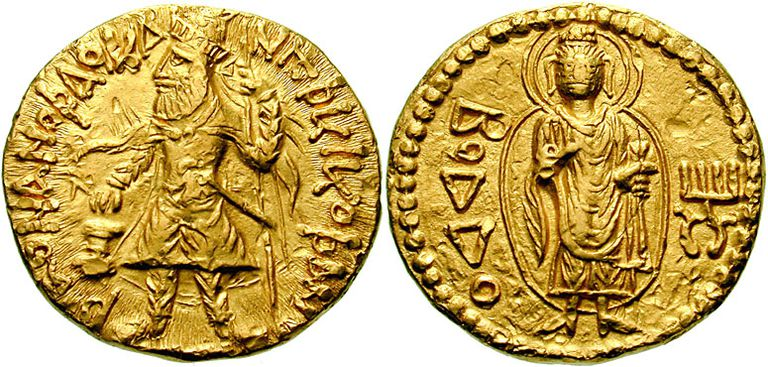 Kanishka was a devout Buddhist, as shown by the Buddha figure on the reverse of this coin