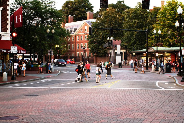 Harvard Square in Cambridge, Massachusetts