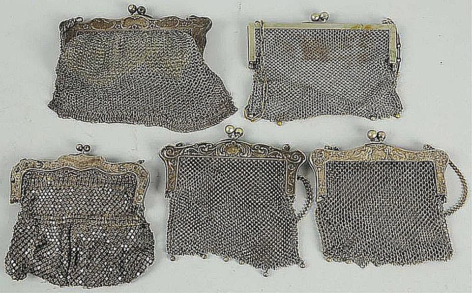 Five German Silver Purses, c. late 1890s