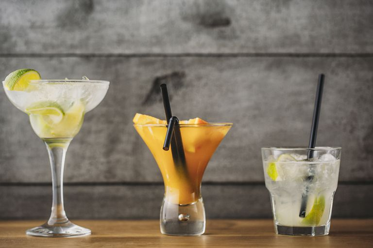 Variety of fruit cocktail drinks
