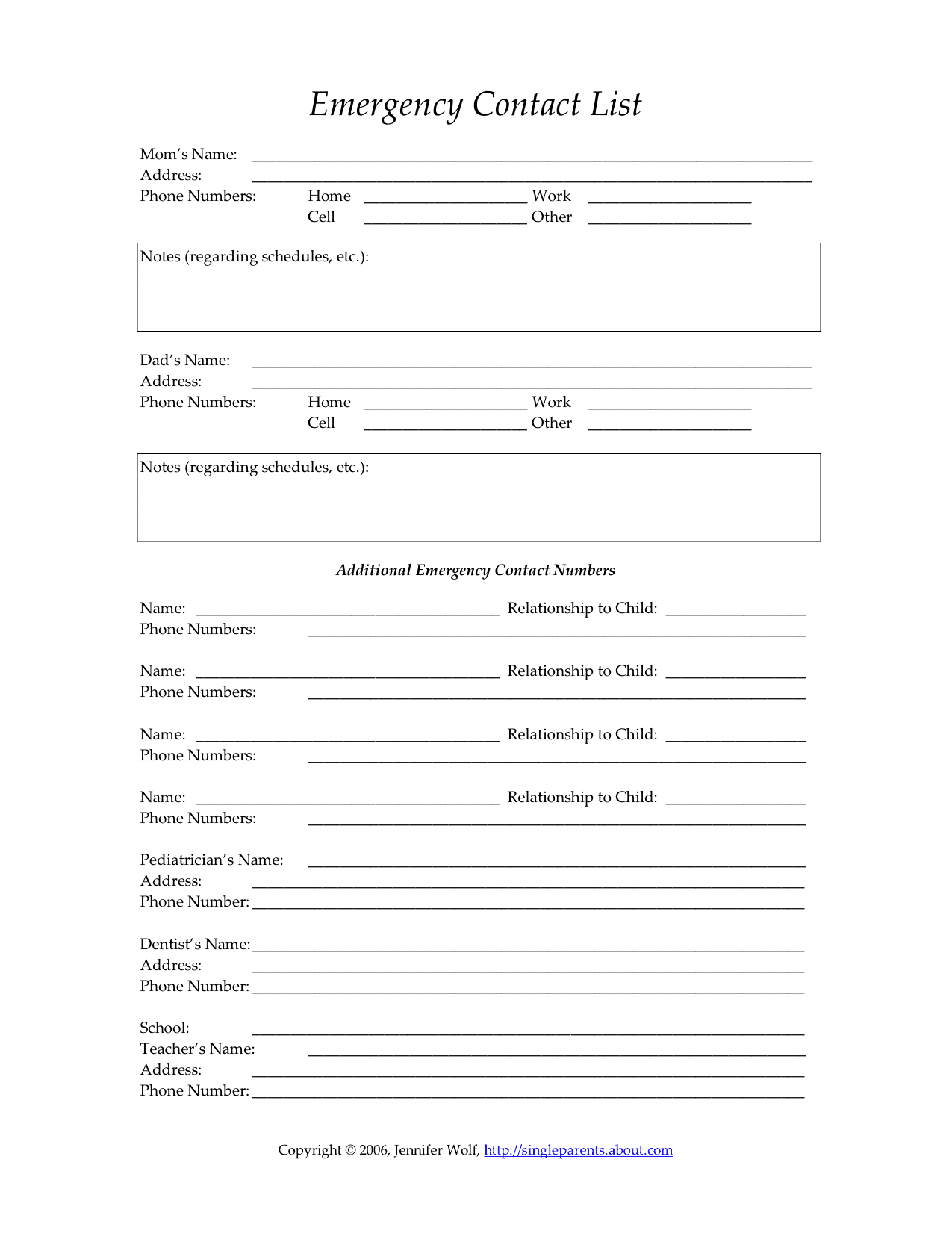 Child's Emergency Contact Form | Single Parent Families