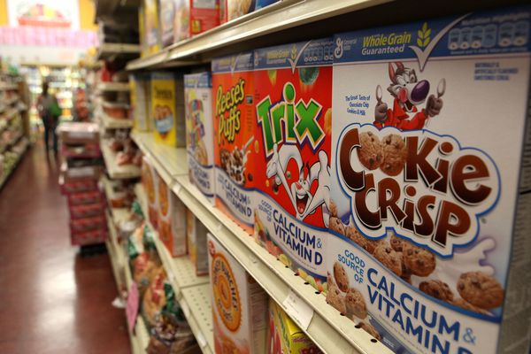Cereal on grocery store shelves