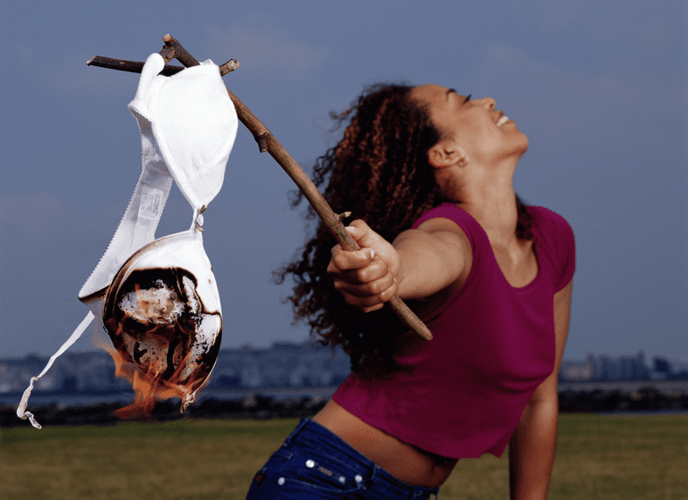 Woman With Burning Bra