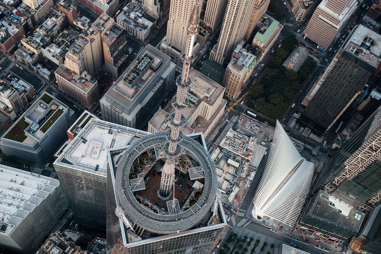 An aerial view of the top of One World Trade Center and its spire