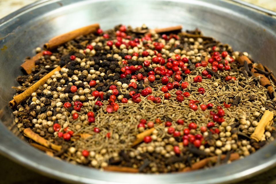 High Angle View Of Garam Masala In Container