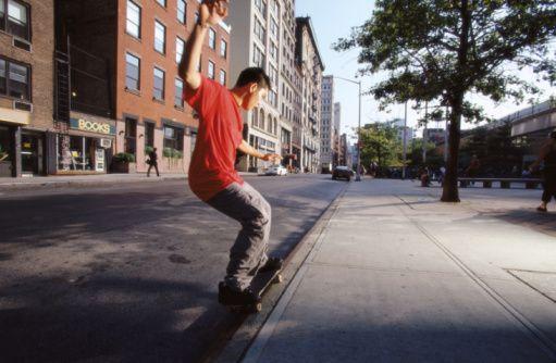 Slappy Skateboard Grind on a Curb
