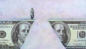 Man at financial chasm