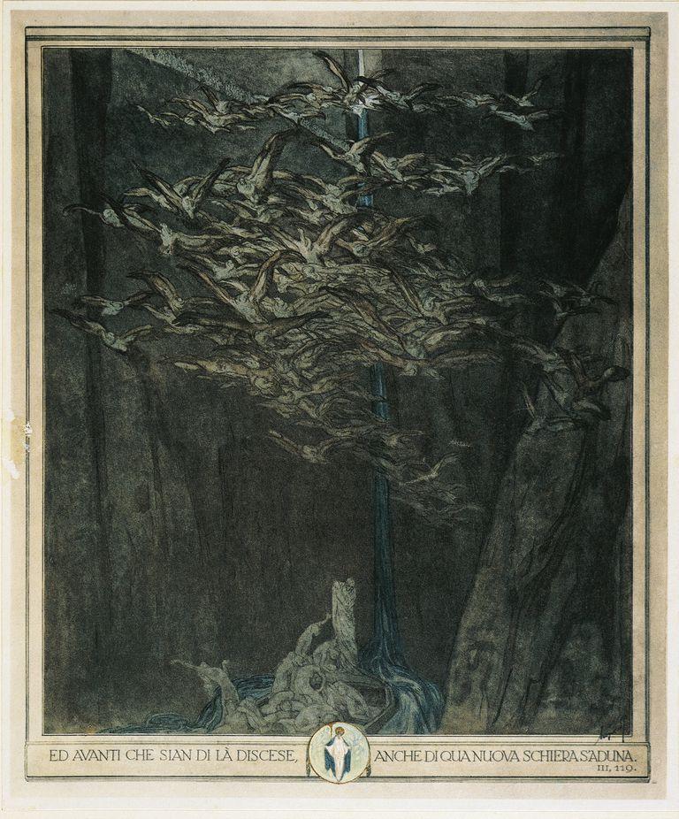 Dante Alighieri (1265-1321), Divina Commedia (Divine Comedy), Illustration by Franz Von Bayros, Inferno (Hell), Canto III