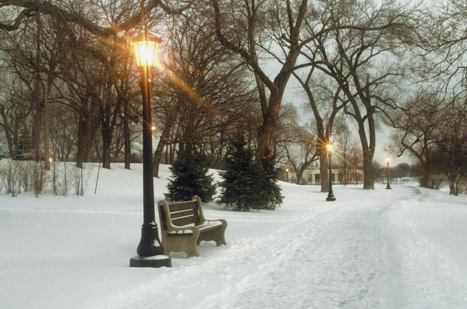 Bench with streetlamp near snow-covered road, Lake Como Park, Saint Paul, Minnesota, USA