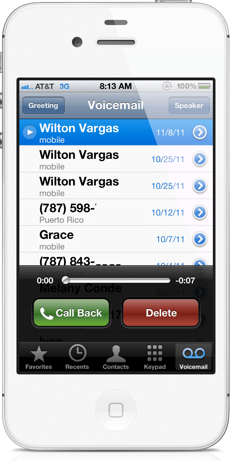 iPhone visual voicemail