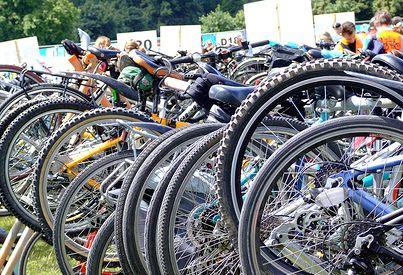 Bikes in a row