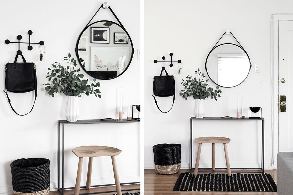black white entryway small space - Small Entryway Decor