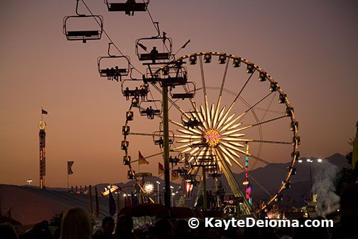 The SkyRide and Ferris Wheel at sunset at the LA County Fair