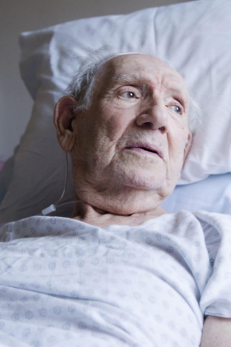 Elderly in hospital bed