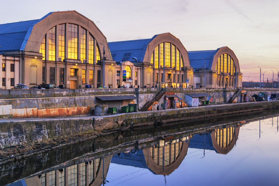 View of Riga Central Market at dusk, is Europe's largest bazar, using old German Zeppelin hangars.