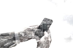 Double exposure of smart phone and London.