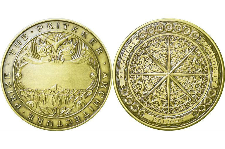 Front and back of the bronze medallion - The Pritzker Architecture Prize - Firmness, Commodity, Delight