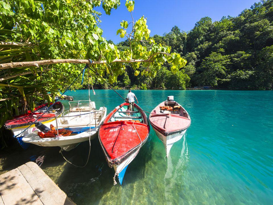 Jamaica, Port Antonio, boats in the blue lagoon