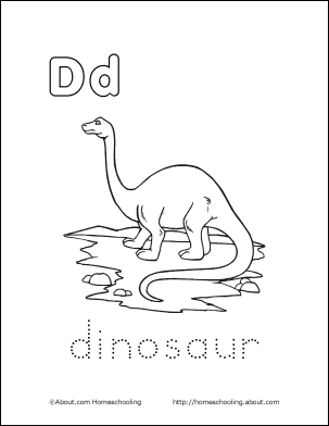 Dinosaur Coloring Page Letter D 4