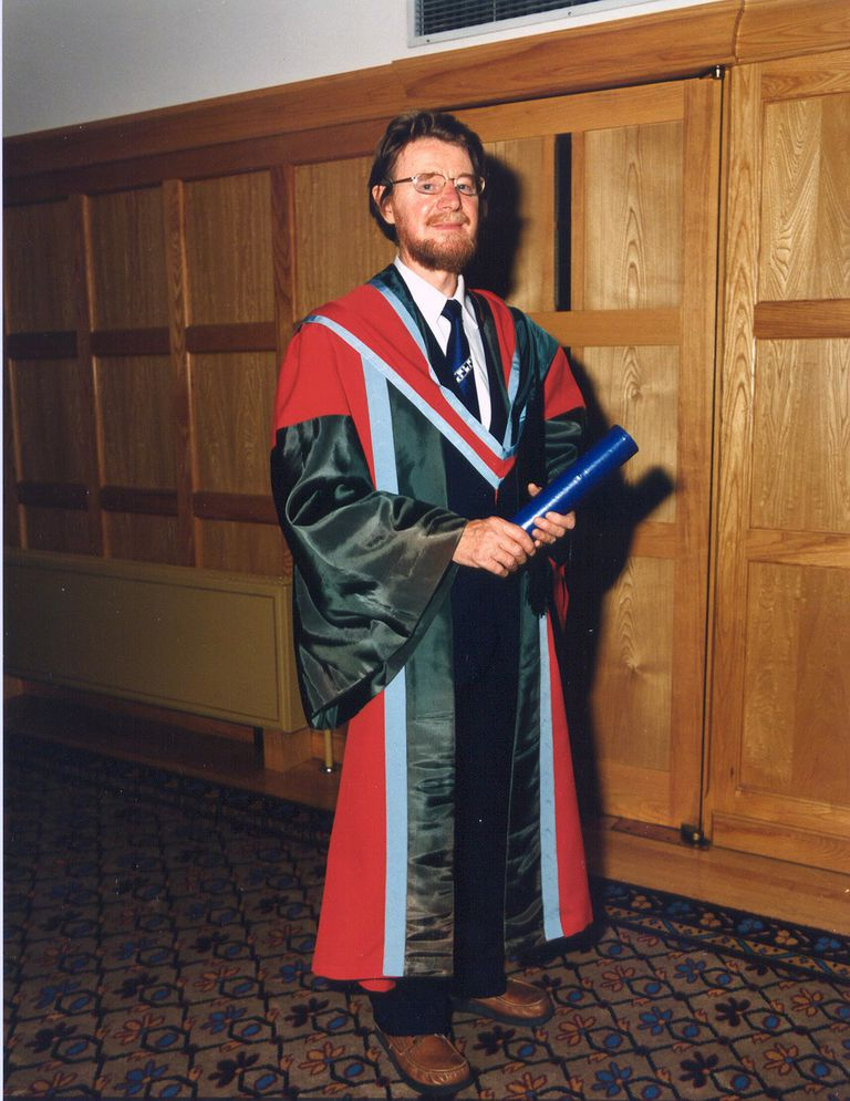John Bell receiving an Honorary degree at Queen's University Belfast, July 1988.