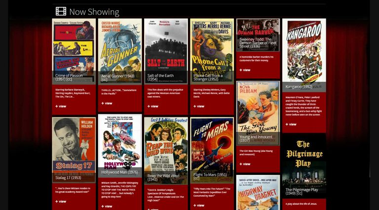 The homepage of Classic Cinema Online