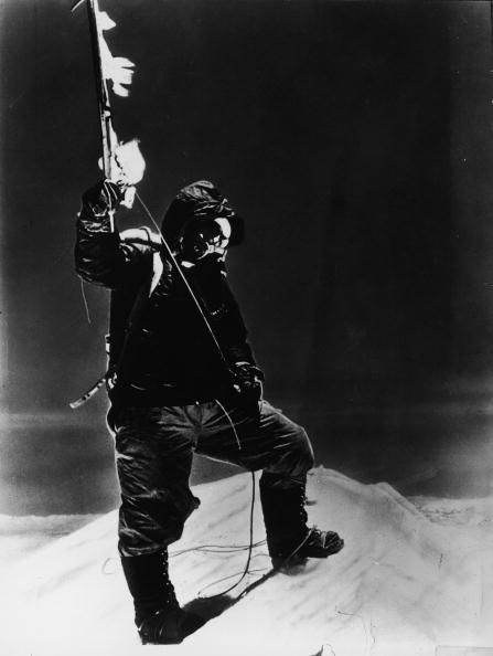 Tenzing Norgay on the summit of Mt. Everest, first successful climb with Edmund Hillary, 1953.