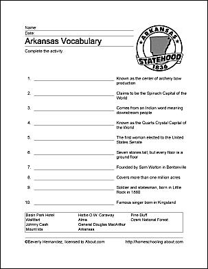 Arkansas printable vocabulary worksheet
