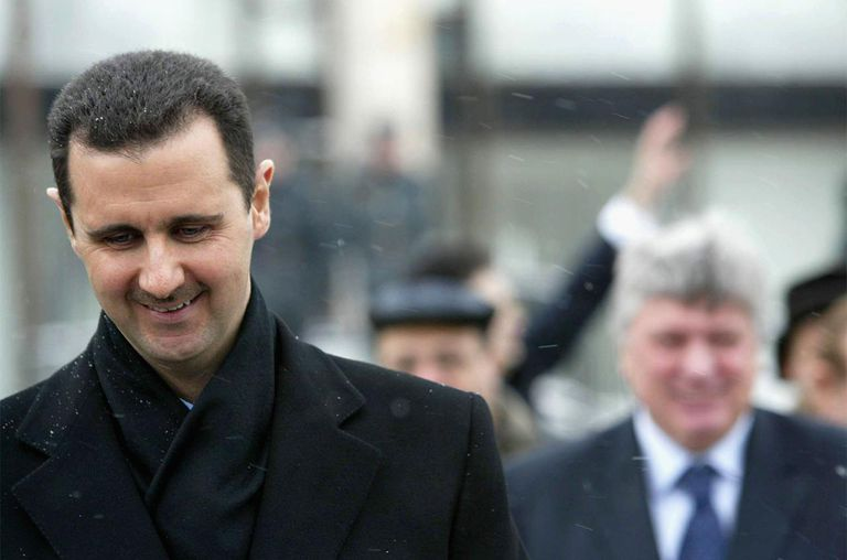 Syrian President Bashar Assad is seen during a visit to Moscow's State Institute for Foreign Relations on January 25, 2005.