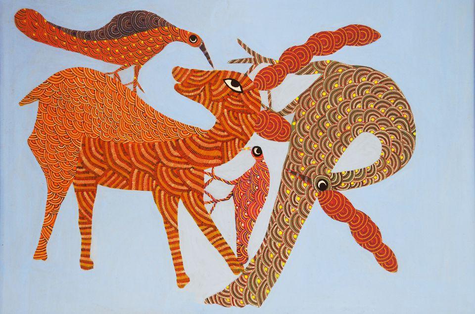 Gond tribal art. Acrylic on canvas by Nankusia Shyam.