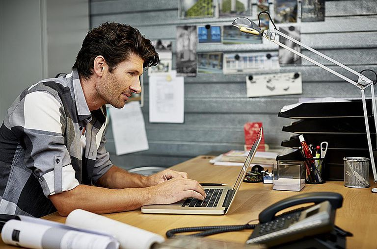 Creative business man working on computer