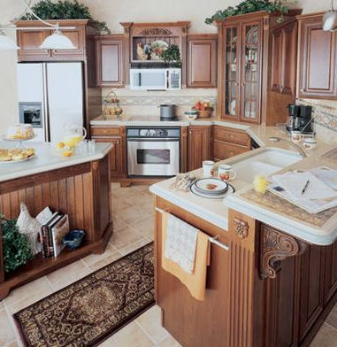 rustic kitchen cabinet designs. Cherry Finished Country Style Kitchen Cabinets or Rustic Design Ideas