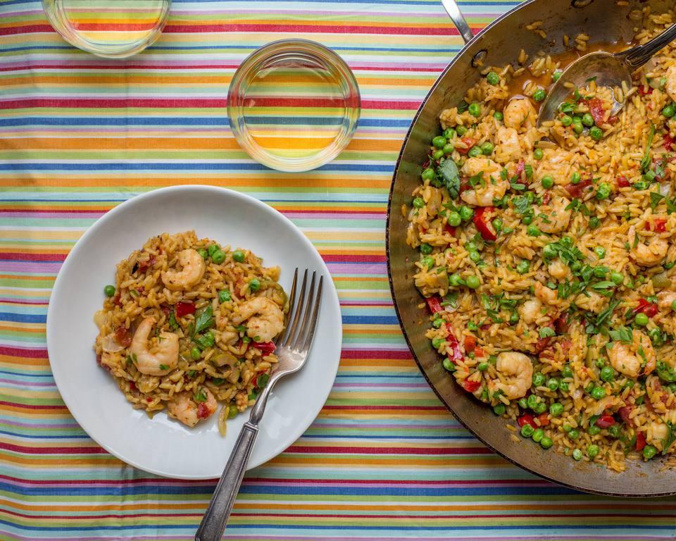 Simple Shrimp Scampi Paella