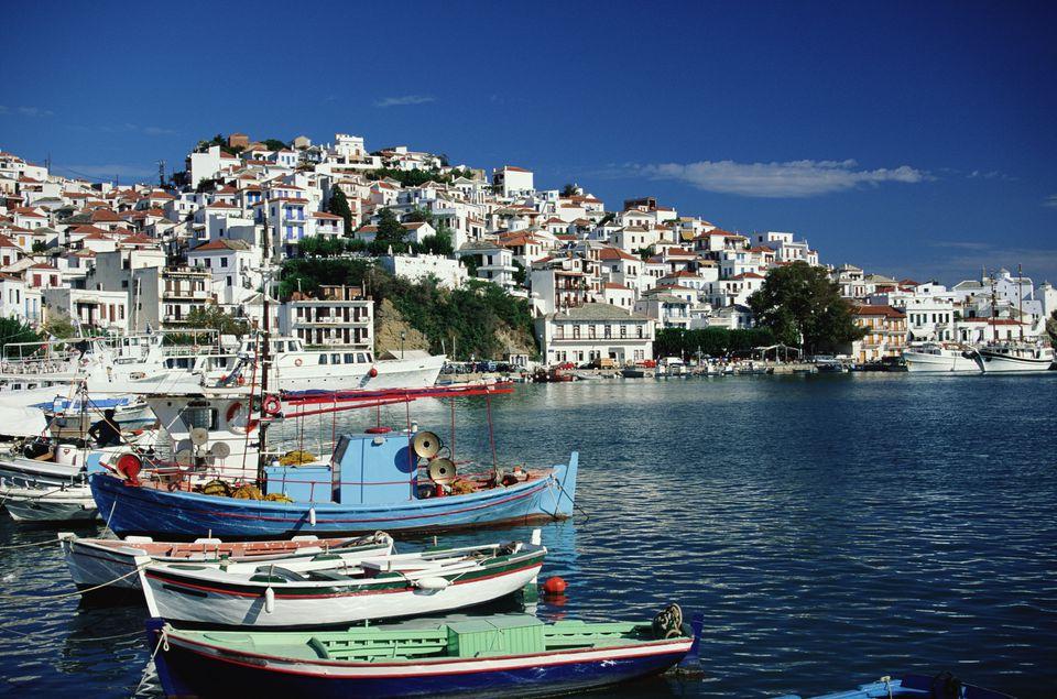 Greece, Skopelos, fishing boats in harbour