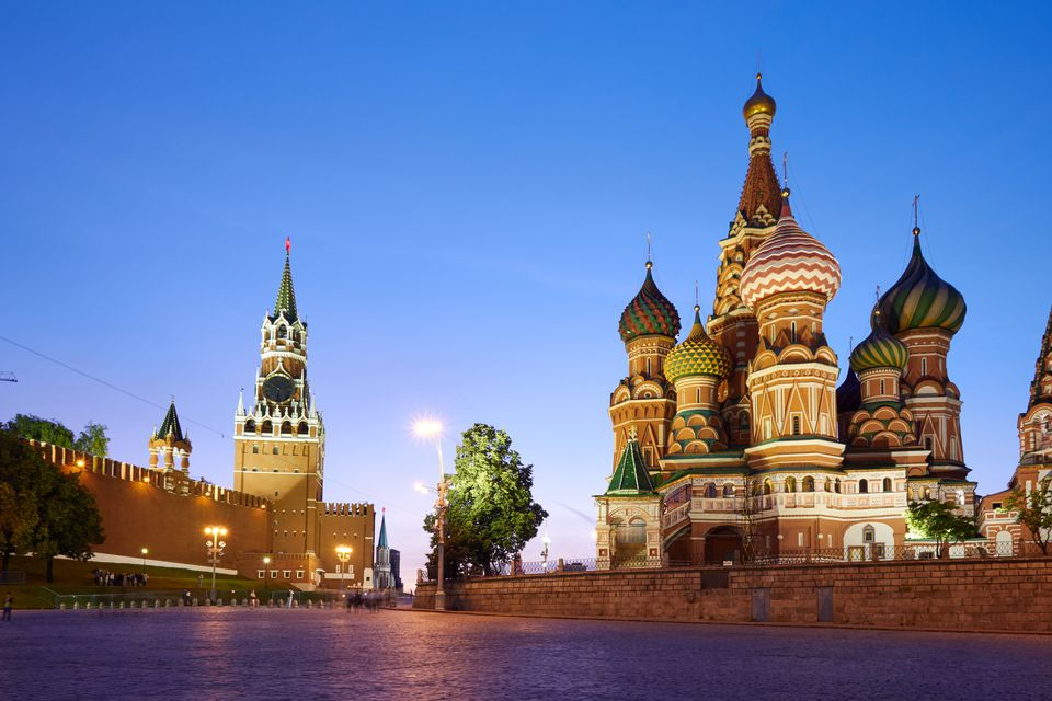 Russia's Red Square at dusk.