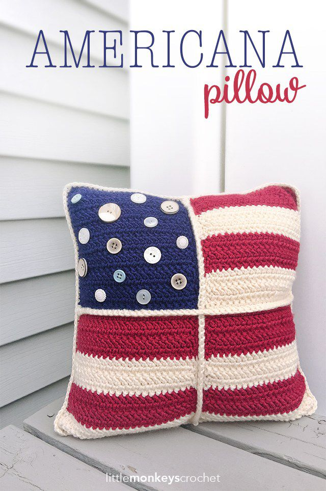 Americana Throw Pillow Cover Free Crochet Pattern
