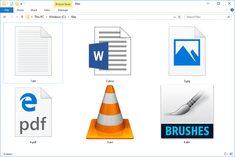 Screenshot of six files and their file extensions in Windows
