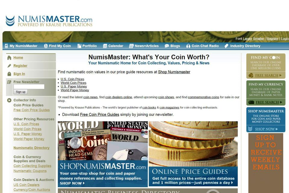 a screen shot of the Numismaster Website at www.Numismaster.com