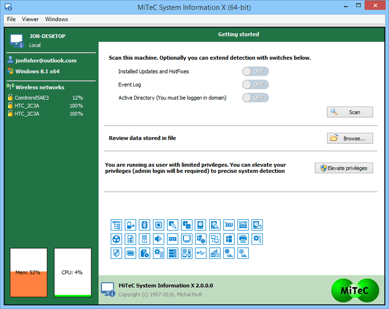 Screenshot of MiTeC System Information X v2 in Windows 8